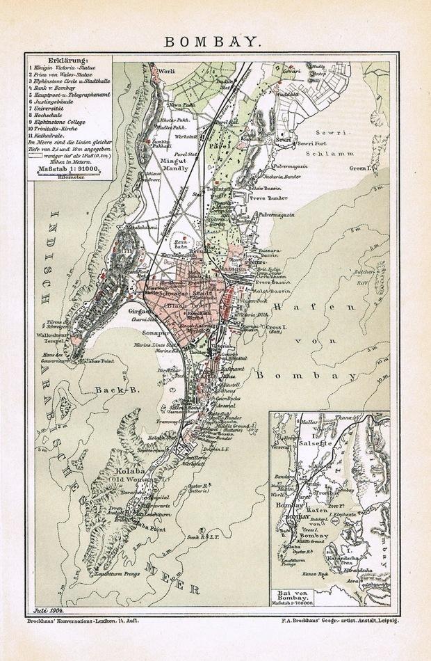 Mumbai, Bombay old Map from 1900