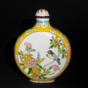 Old enameled Chinese Snuff Bottle, Bird and Flowers
