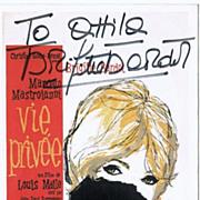 Brigitte Bardot Autograph on 1970s Postcard, CoA
