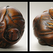 Antique Chinese Toggle: Two Toads on a Bumpkin