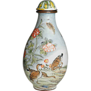 Enameled Snuff Bottle with Ducks and Quails