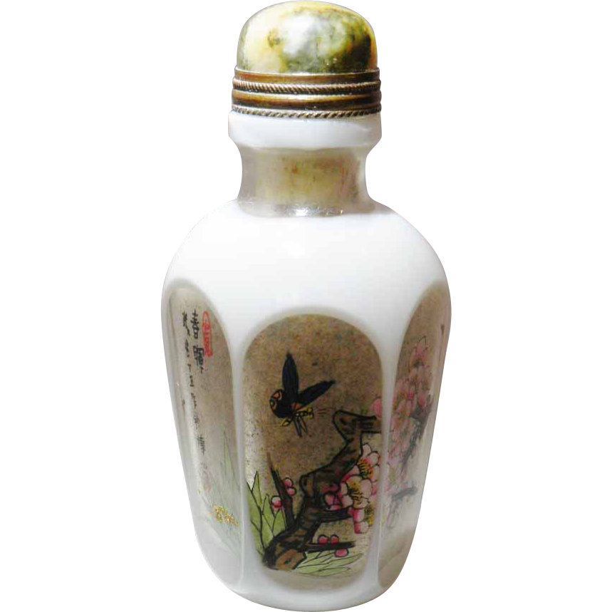 Chinese Snuff Bottle Hexagonal Plum Blossoms