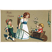 Happy Easter. Litho Postcard with Children