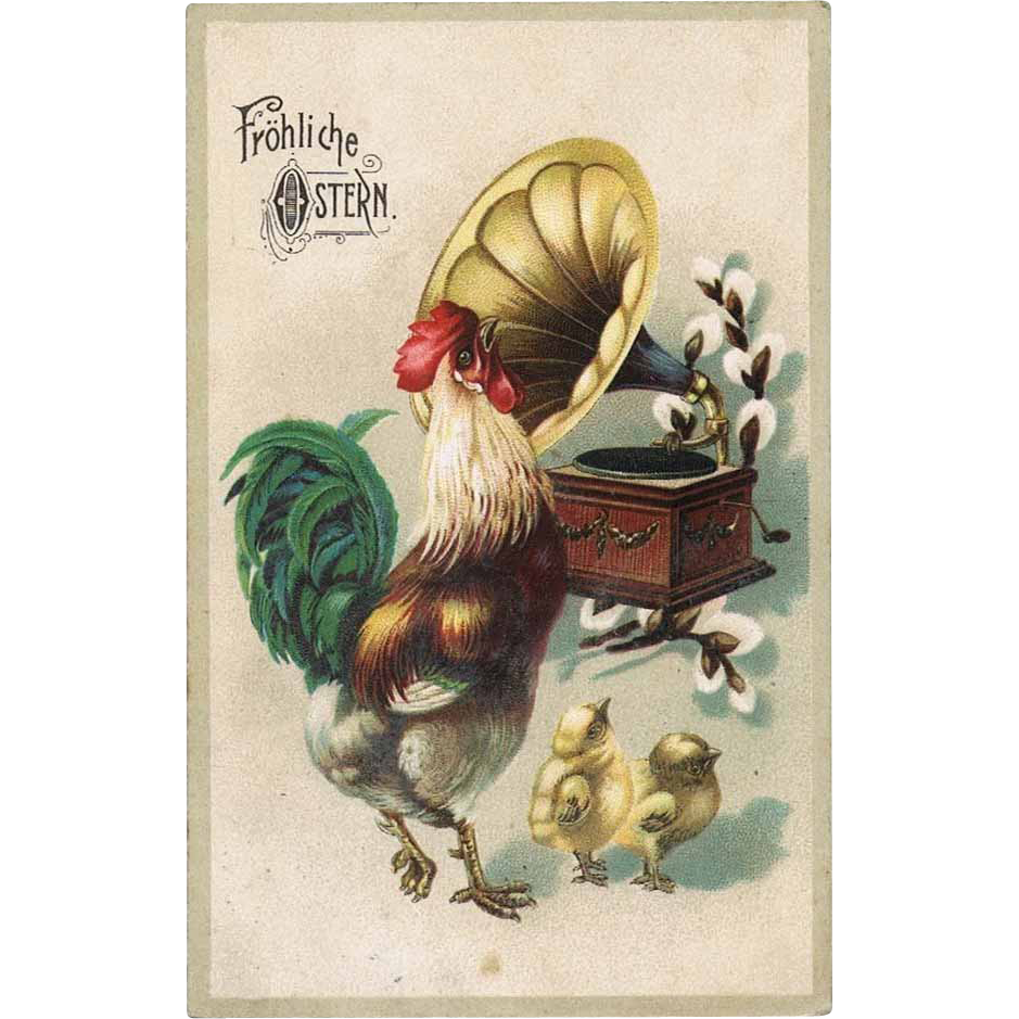 Happy Easter. Cock and Gramophone Postcard