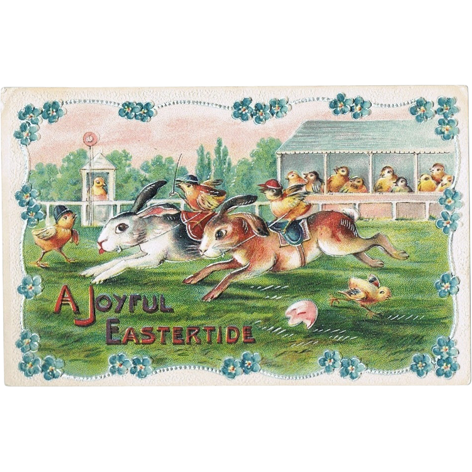 A Joyful Eastertide. Embossed old Postcard-size