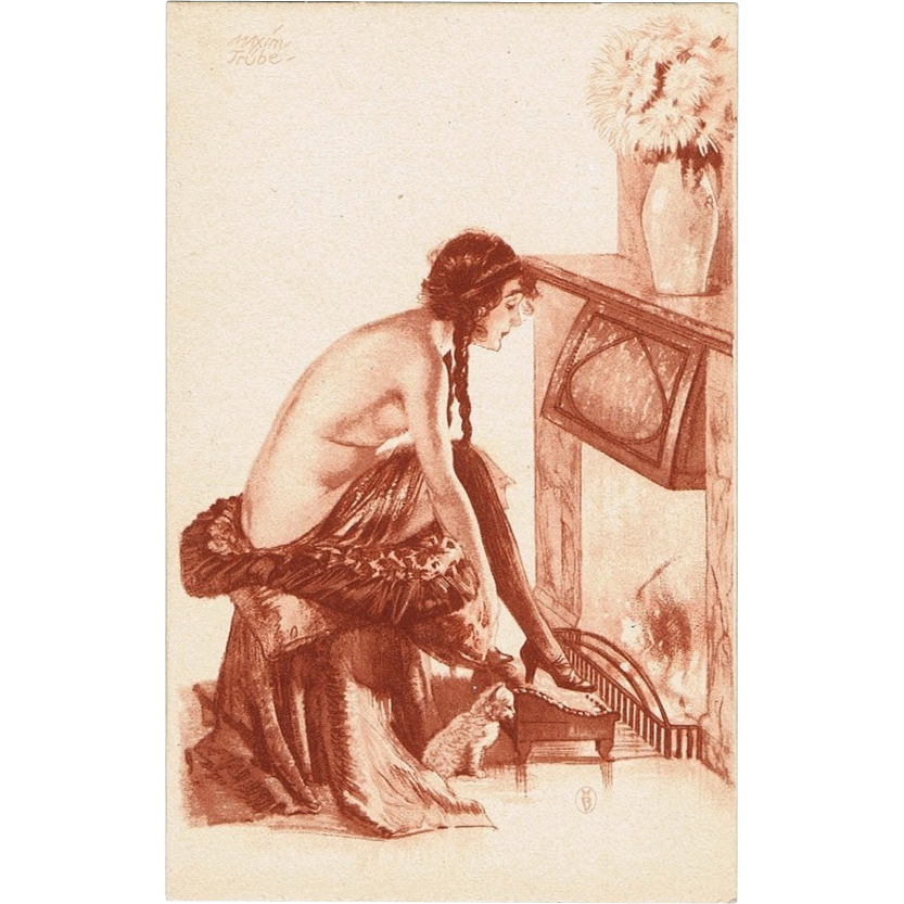 Vintage Postcard with semi-nude Lady