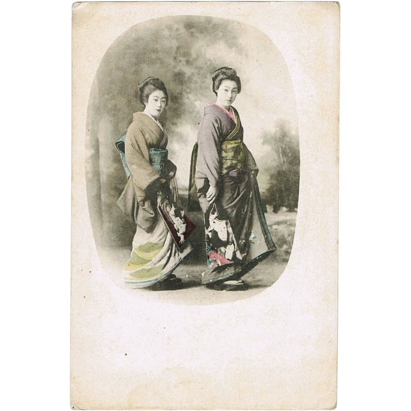 Old Japanese Postcard with Geishas