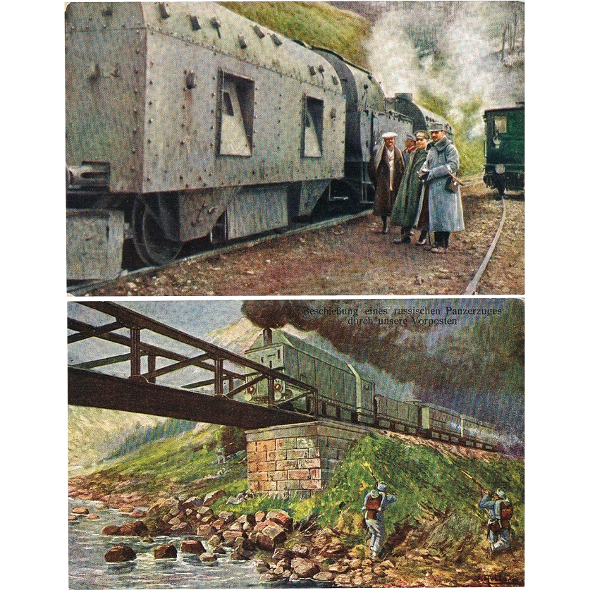 Two Postcards with Trains from WWI Period