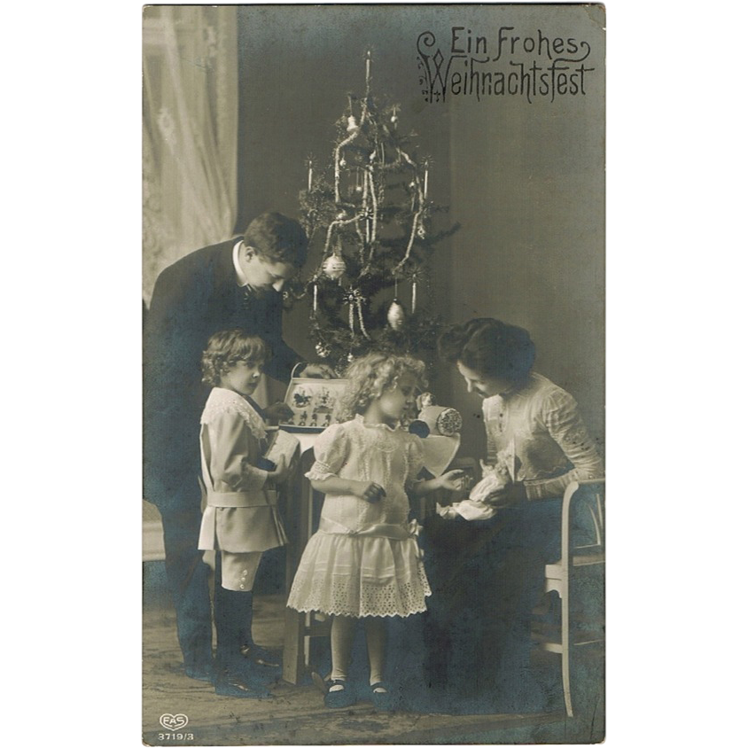 Christmas Postcard with Kids and Doll 1913