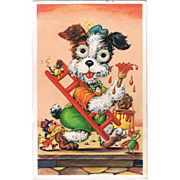 Puppy with movable Eyes. Vintage Postcard - Red Tag Sale Item