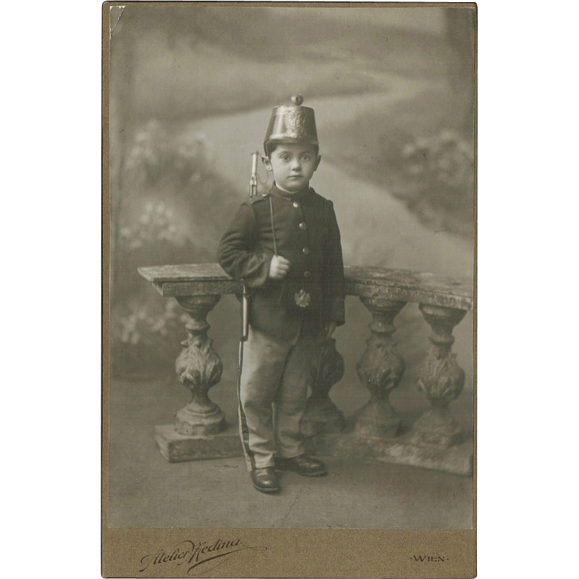 Antique Studio Photo with Boy in Prussian Uniform