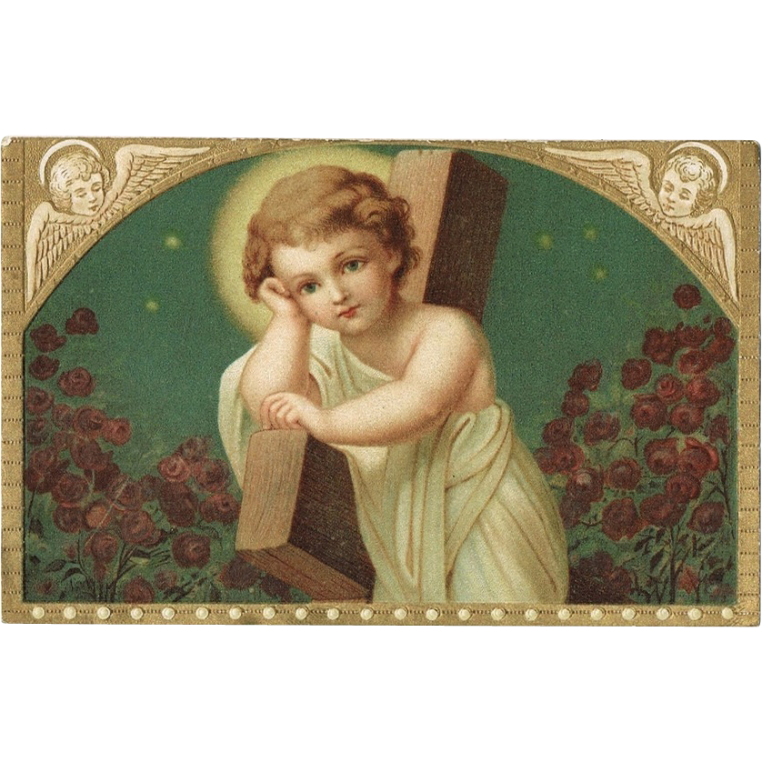Little Jesus Lithographed Embossed Postcard