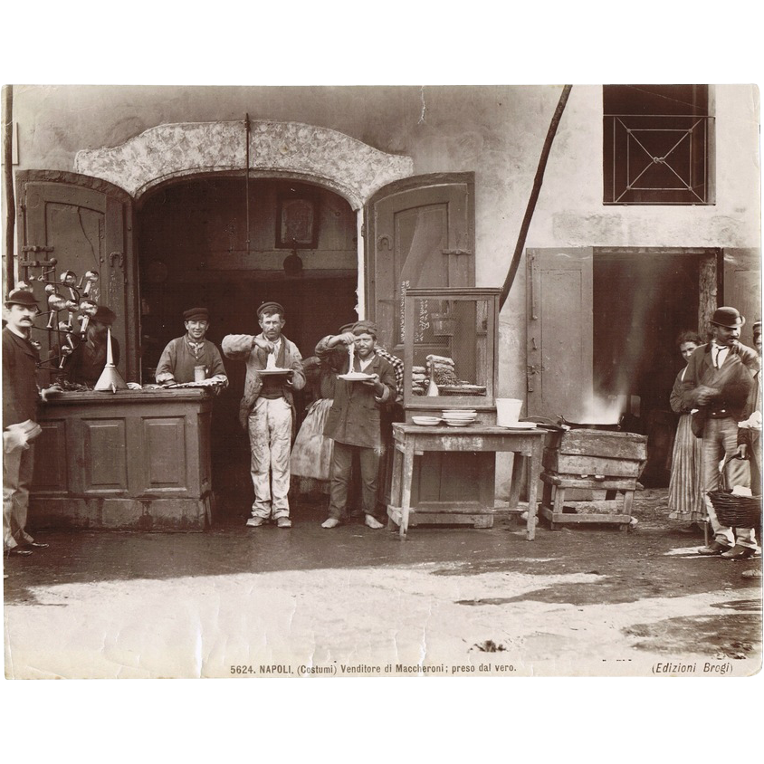 Old Italian Photo with Spaghetti Eaters