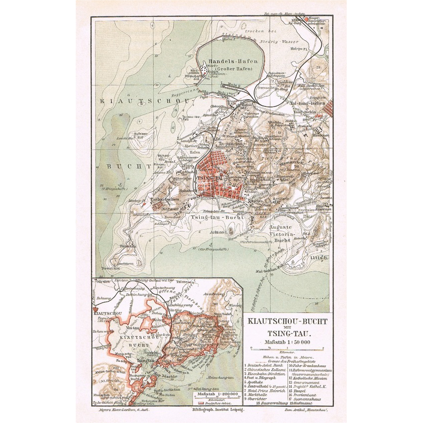 China Map: Jiaozhou Bay and Qingdao. 1902