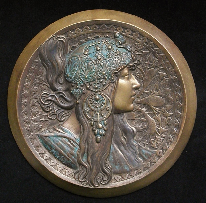 Most Attractive Old Alphonse Mucha Tete Byzantine Metal