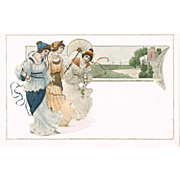 Attractive Art Nouveau Postcard with 3 Pretty Ladies.