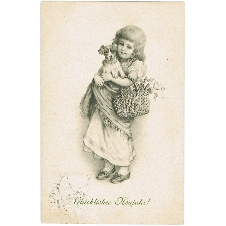 New Years Postcard Girl and Dog 1905