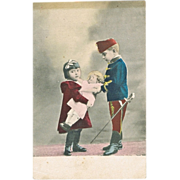 Vintage Postcard Children with Doll