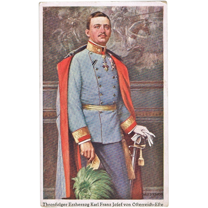 Charles I of Austria, Heir to the Throne, Vintage Postcard
