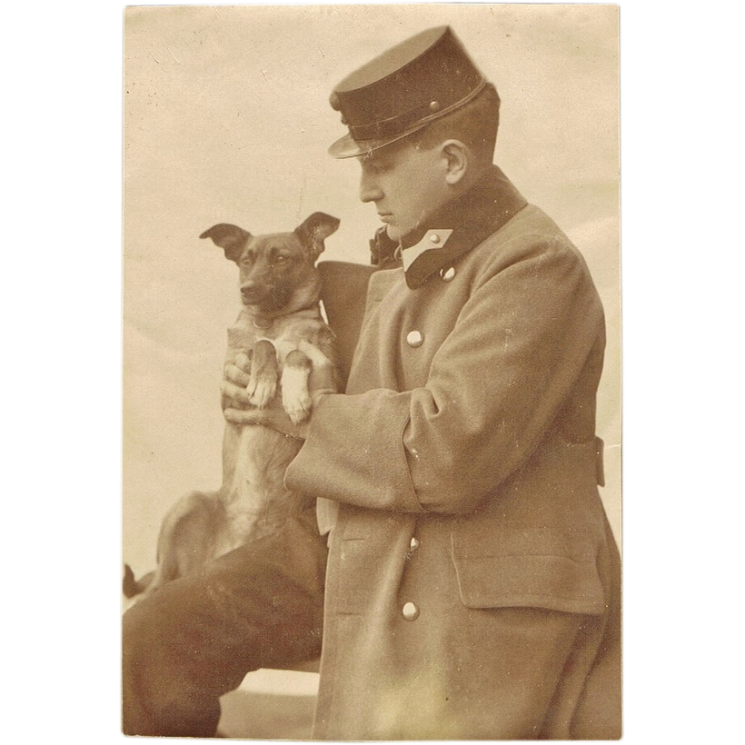 Soldier and Puppy, Vintage Photo World War 1