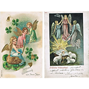 Two Postcards with Angels, Xmas and New Year