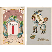 Two Vintage New Year Postcards January First Motifs