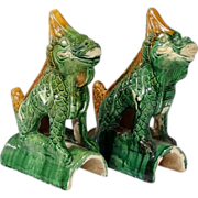 Pair of old Chinese Roof Tiles in Shape of Mythical Creature