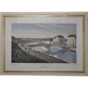 Antique Tinted Etching Vienna 1823, matted