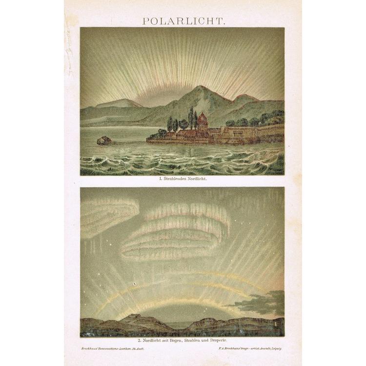 Polar Lights: Old Chromo Lithograph 1898