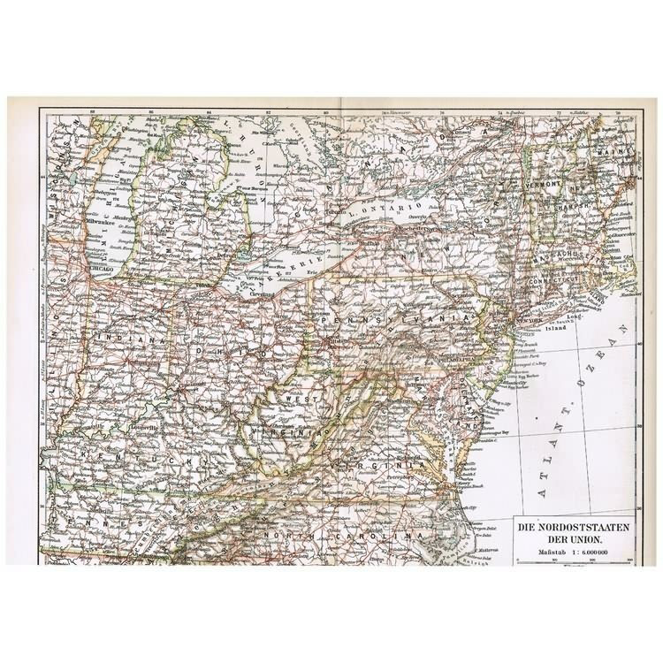 American Civil War: Antique Map of the Northern States of the Union. 1900