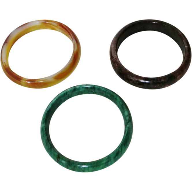Three Bangles Jadeite Agate Hard-stone
