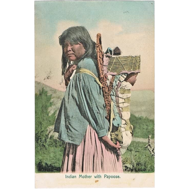 Indian Mother with Papoose: Tinted Vintage Postcard