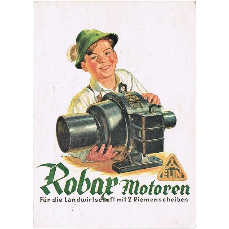 Robax Motors Advertising Postcard. WWII