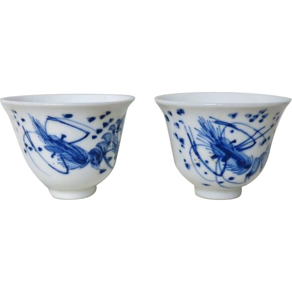 2 Chinese Cups Porcelain, Qing Dynasty Bottom Marks