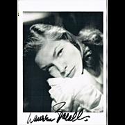 Lauren Bacall: Authentic Autograph on 1990 Artist Postcard, France