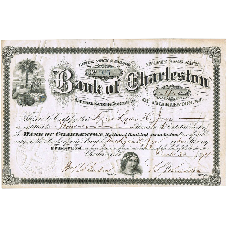 Bank of Charleston Stock Certificate from 1874