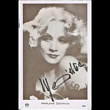 Marlene Dietrich Autograph. Hand signed Portrait Print. CoA