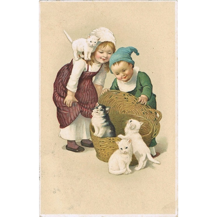Children and Cats. Sweet Vintage Postcard from 1916
