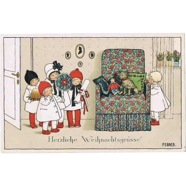 Pauli Ebner Postcard Xmas Greetings. Girls, Doll, Pet