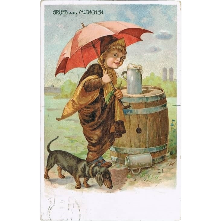 Munich Postcard with Dachshund