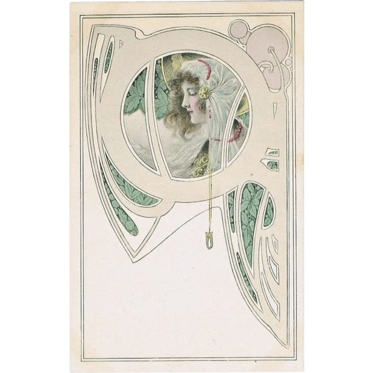 Art Nouveau Postcard with Lady and Flowers
