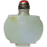 Chinese Snuff Bottle of Greenish Jade