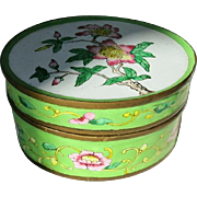Antique Chinese Canton Enameled Famille Rose Trinket Box