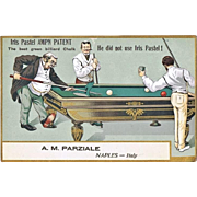 Billiard: Lithographed Italian Advertising Postcard