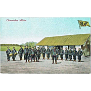 Chinese Soldiers. Vintage Postcard with Ad