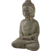 Old Japanese Stone Sculpture of Buddha Figurine.