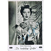 Ava Gardner Autograph on Photo Print. CoA