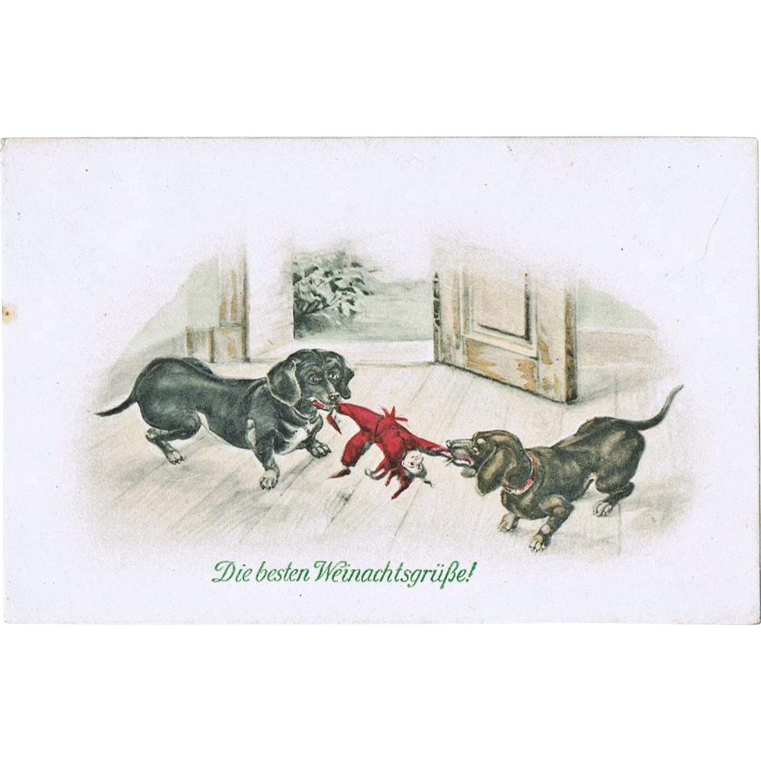 Sausage Dogs and Doll. Vintage Postcard