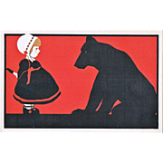 Art Deco Postcard Girl and Bear