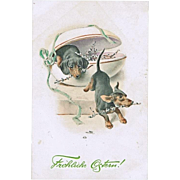 Vintage Easter Postcard with 2 Dachshund